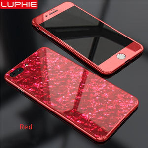 Magnetic Shell Pattern Glossy PC Tempered Glass 360 Full Protective Case Cover For iPhone X/XS/MAX/7P/8P//7/8/6/6s/6P/6sP