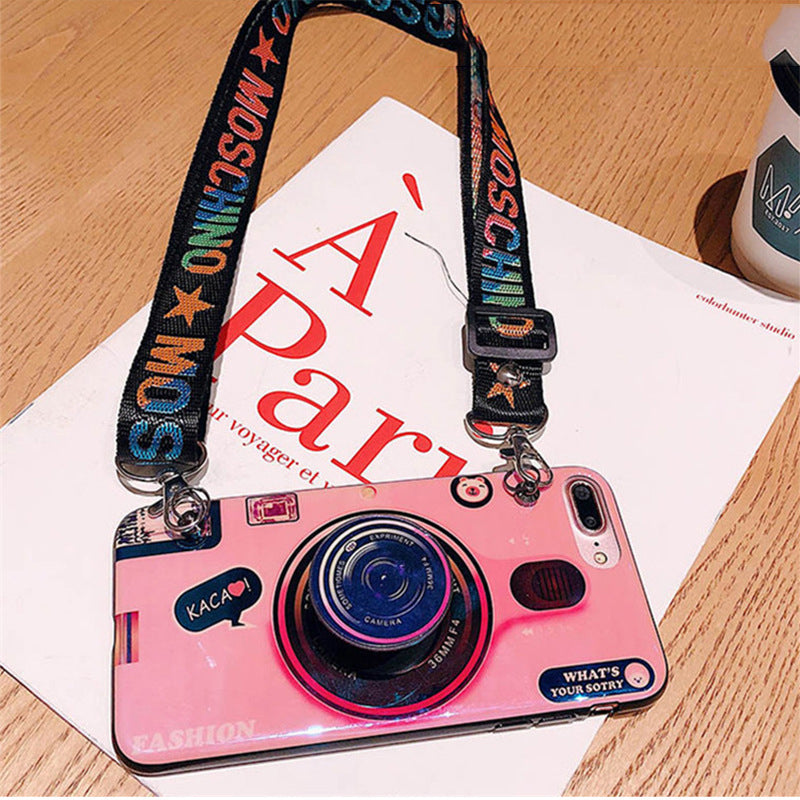 the latest 15d68 f664d NEW Camera Bluray Phone Case with iPhone Holder for iPhone and Huawei with  Adjustable Crossbody Lanyard Soft Cover Fashion Coques - Pink - iPhone X