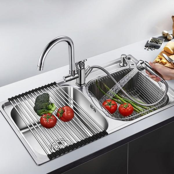 Multifunction Roll Up Dish Drying Rack Folding Wash Drainer Tray Folding Stainless Steel Drain Rack Kitchen Sink Shelf