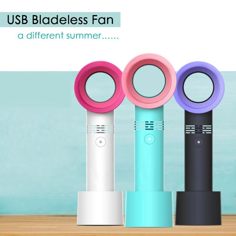 Summer Mini Leafless Fan Handheld 3 Speed Adjustable USB Rechargeable Air Cooling Fan