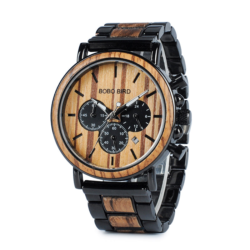 Wooden Watch Men erkek kol saati Luxury Stylish Wood Timepieces Chronograph Military Quartz Watches in Wood Gift Box
