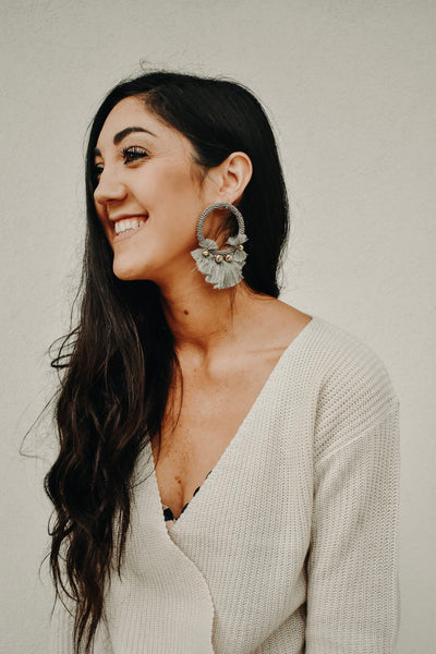 THE LEANNE EARRINGS: GRAY