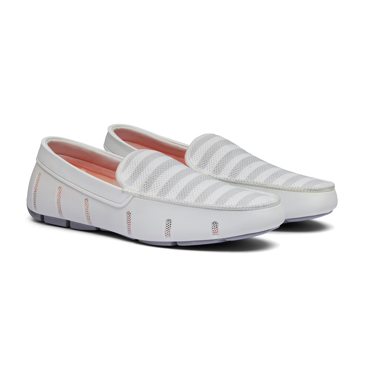 Striped Venetian Loafer - background::white,variant::White/Glacier