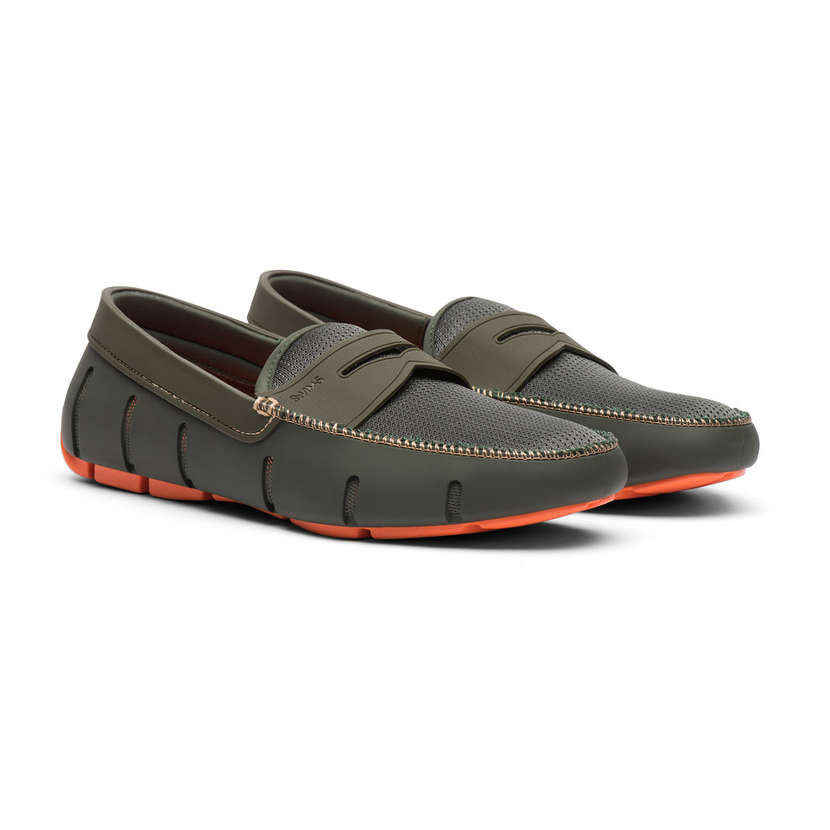 Penny Loafer - background::white,variant::Olive/Orange