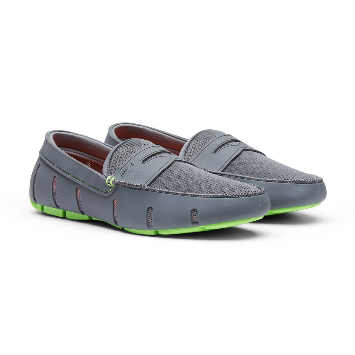Penny Loafer - background::white,variant::Gray/Acid Green