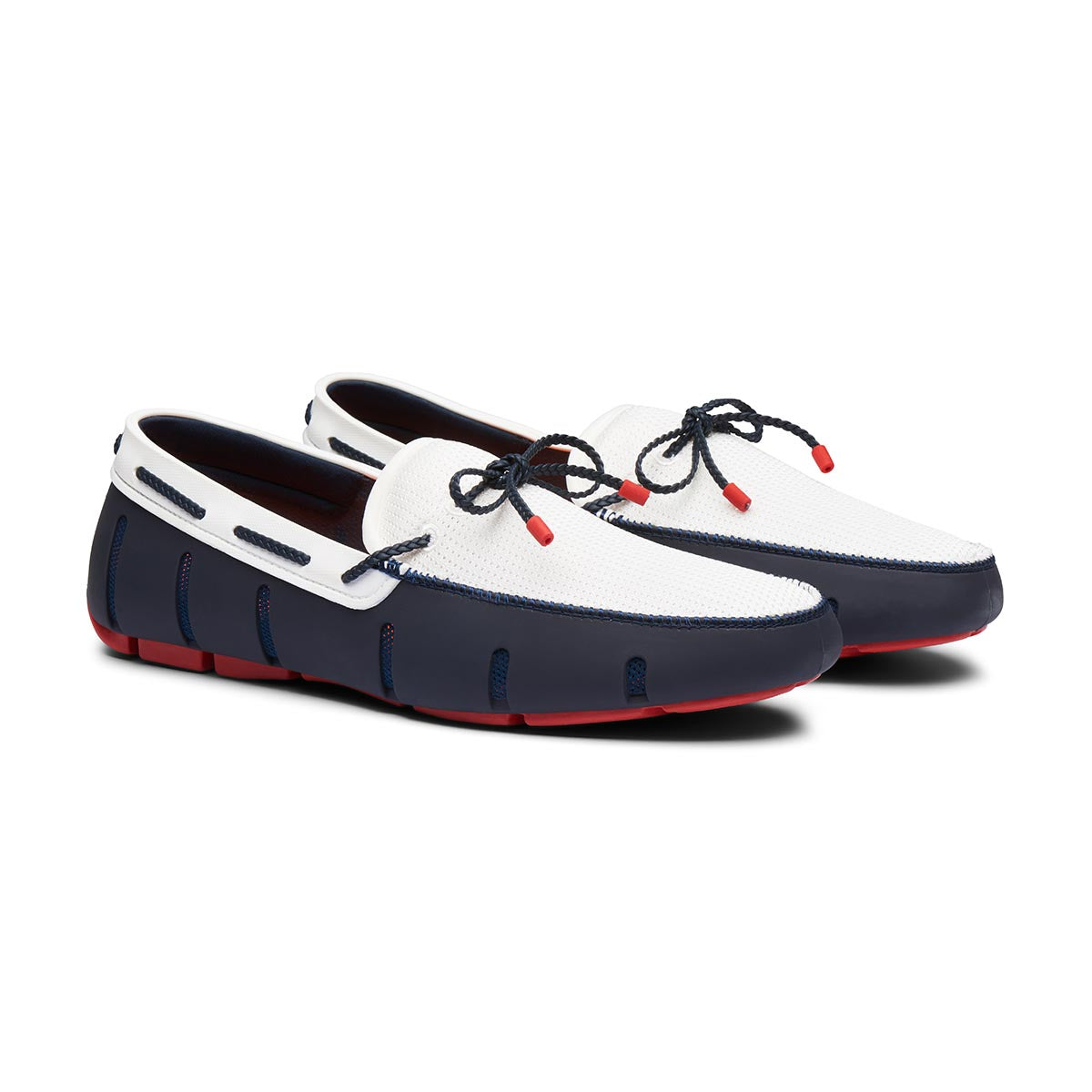 Braided Lace Loafer - background::white,variant::Navy/Red/White