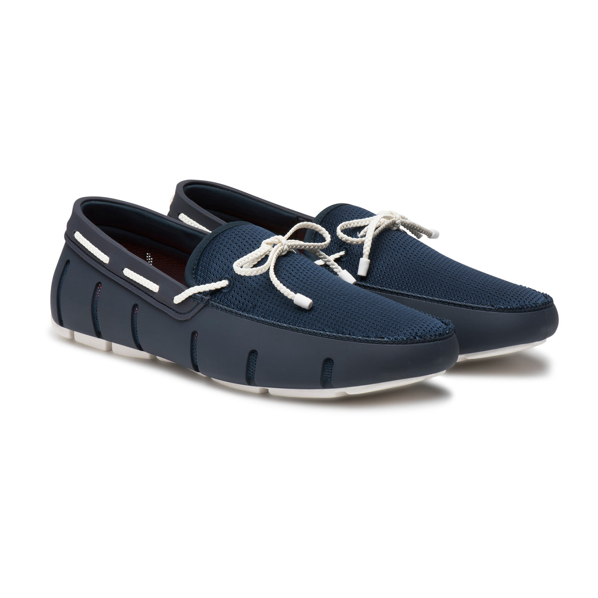 Braided Lace Loafer - background::white,variant::Navy/White