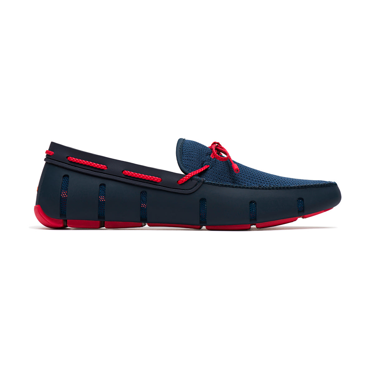 Braided Lace Loafer - background::white,variant::navy/red