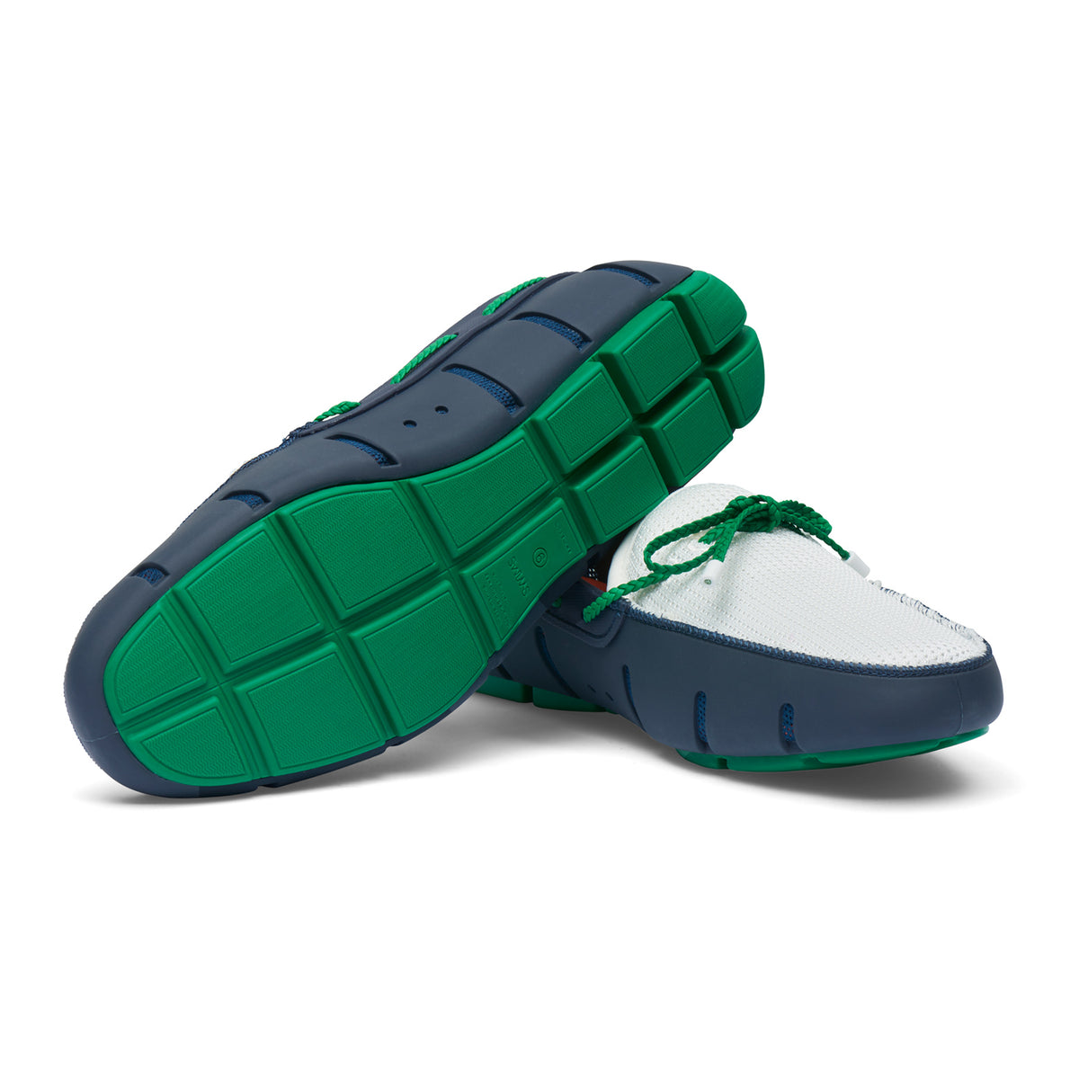 Braided Lace Loafer - background::white,variant::Navy/Jolly Green