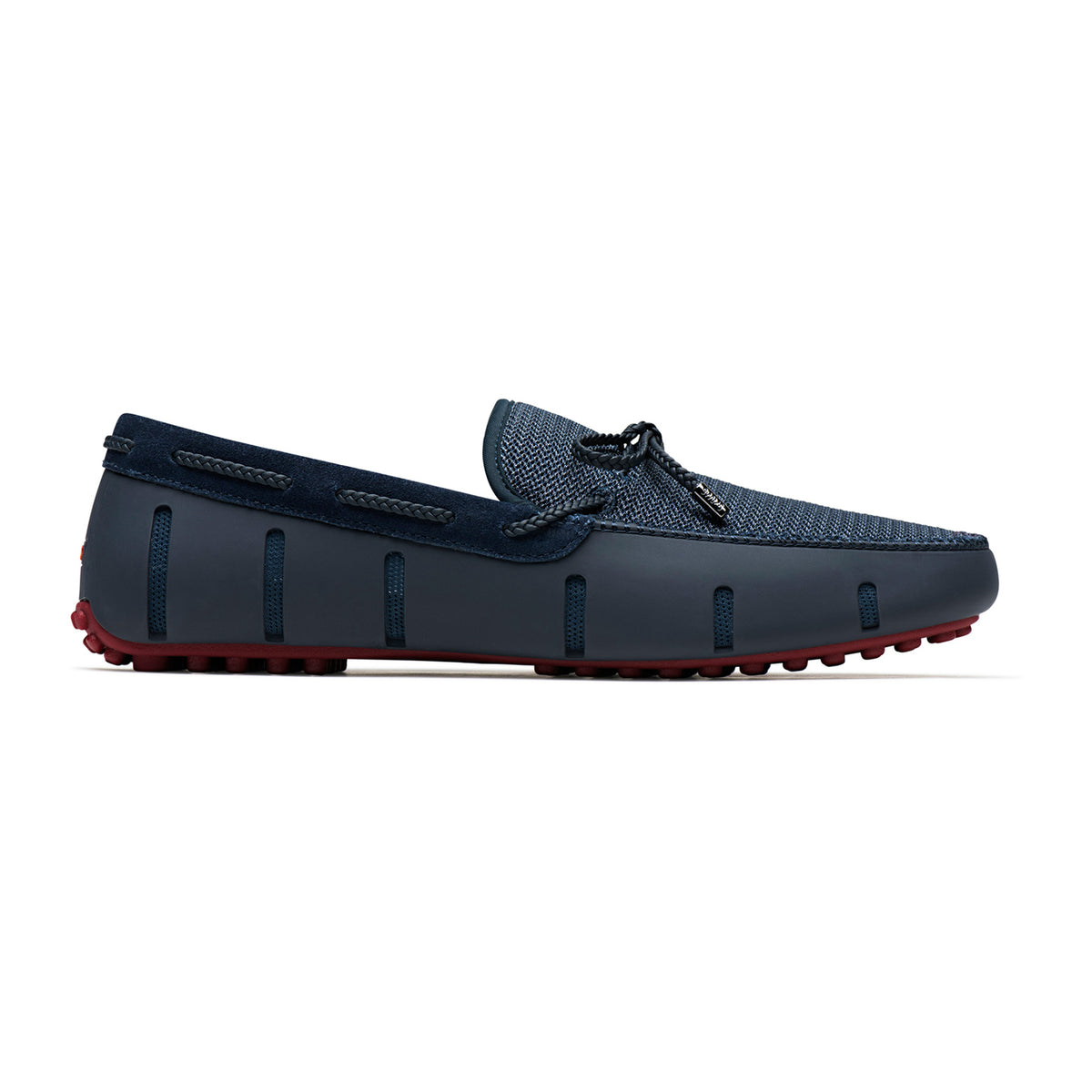 Braided Lace Lux Loafer Driver - background::white,variant::Navy/Deep Red