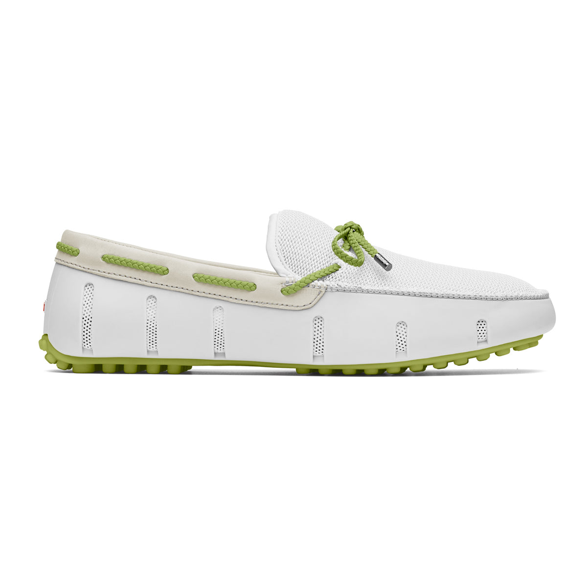 Braided Lace Lux Loafer Driver - background::white,variant::White/Green Oasis