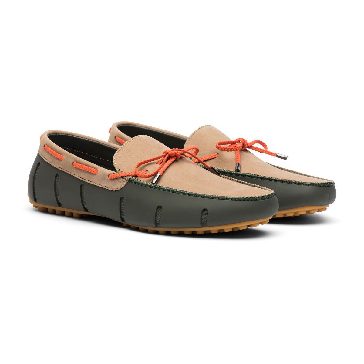 Braided Lace Lux Loafer Driver Nubuck - background::white,variant::Olive/Gaucho/Gum