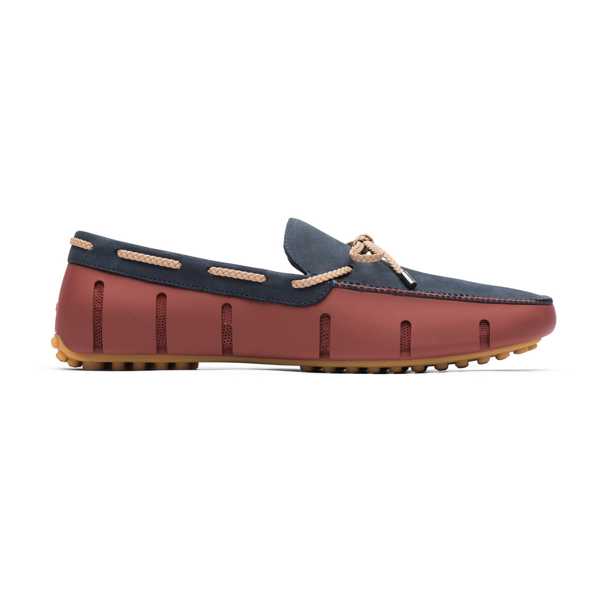 Braided Lace Lux Loafer Driver Nubuck - background::white,variant::Red Lacquer/Navy/Gum