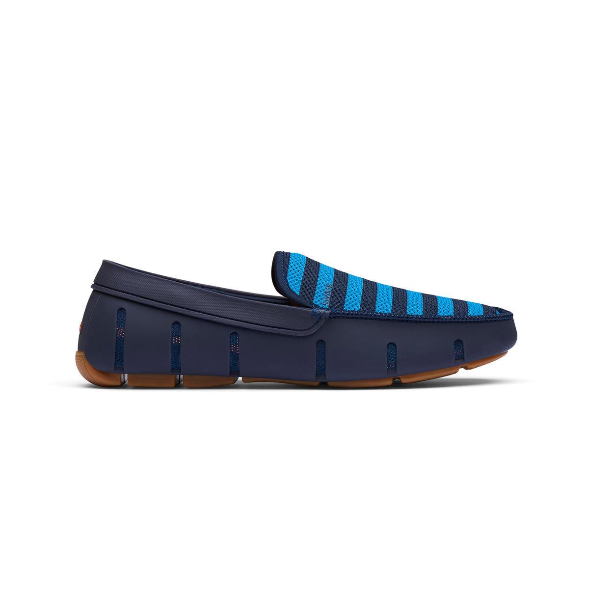 Striped Venetian Loafer - background::white,variant::Navy/Turkish Tile/ Gum