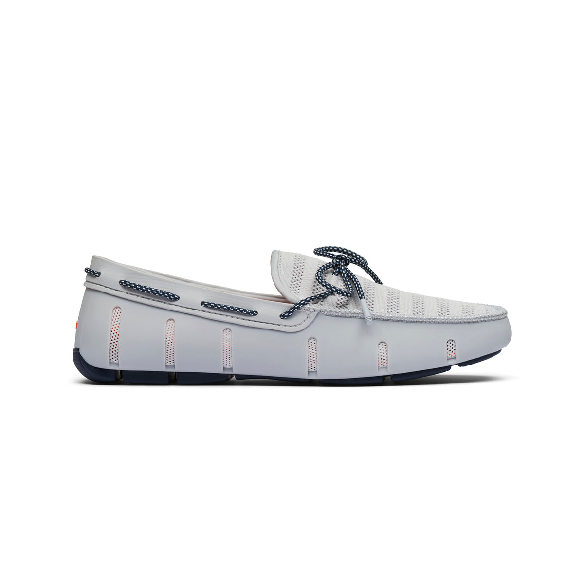 Knit Lace Loafer - background::white,variant::Glacier Gray/Navy