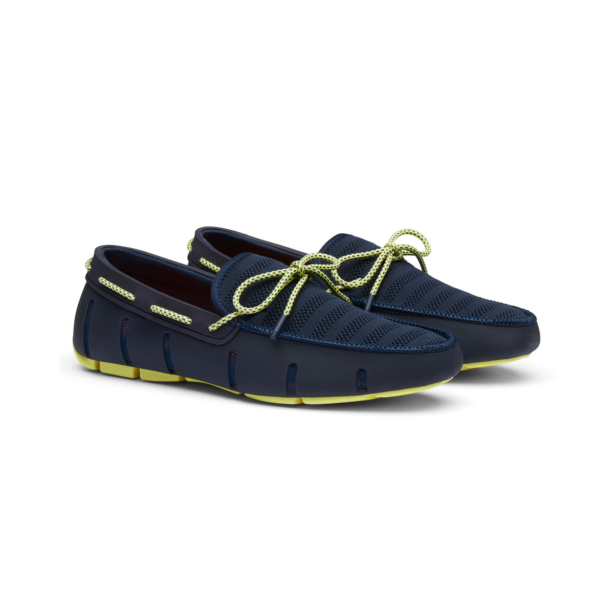 Knit Lace Loafer - background::white,variant::Navy/Limelight