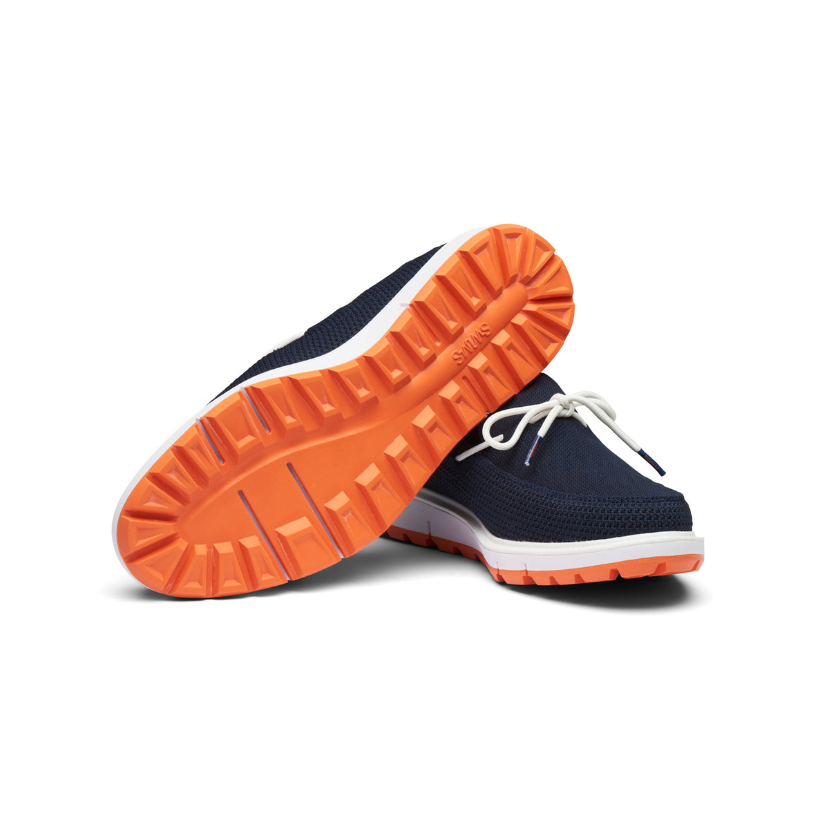 Motion Knit Camp Moccasin - background::white,variant::Navy/White/Orange