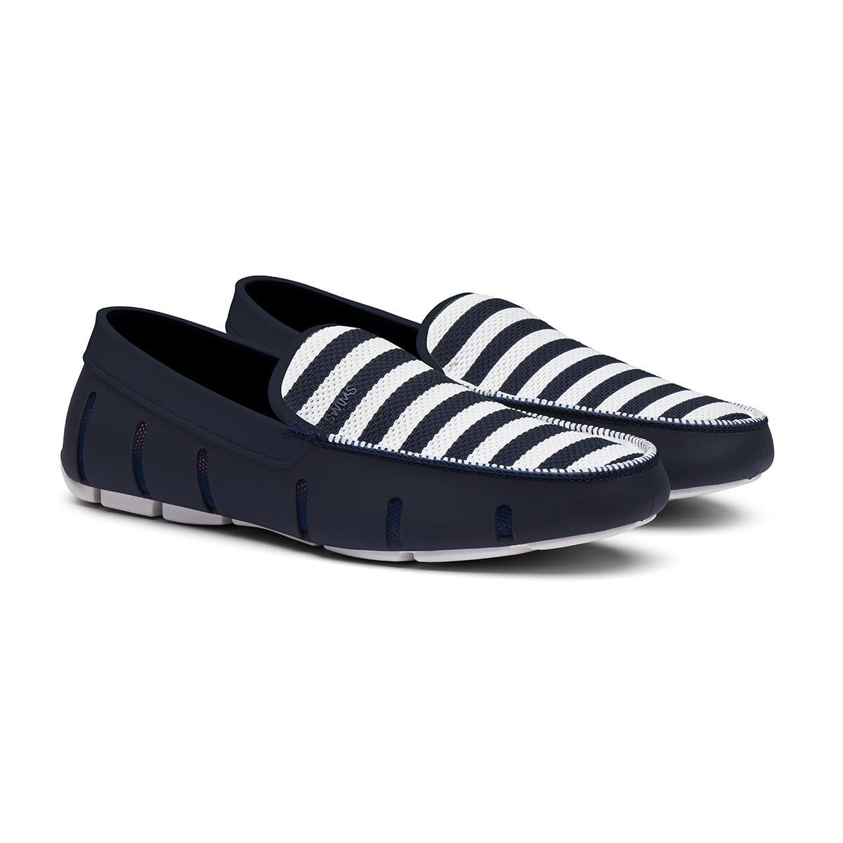 Striped Venetian Loafer - background::white,variant::Navy/White