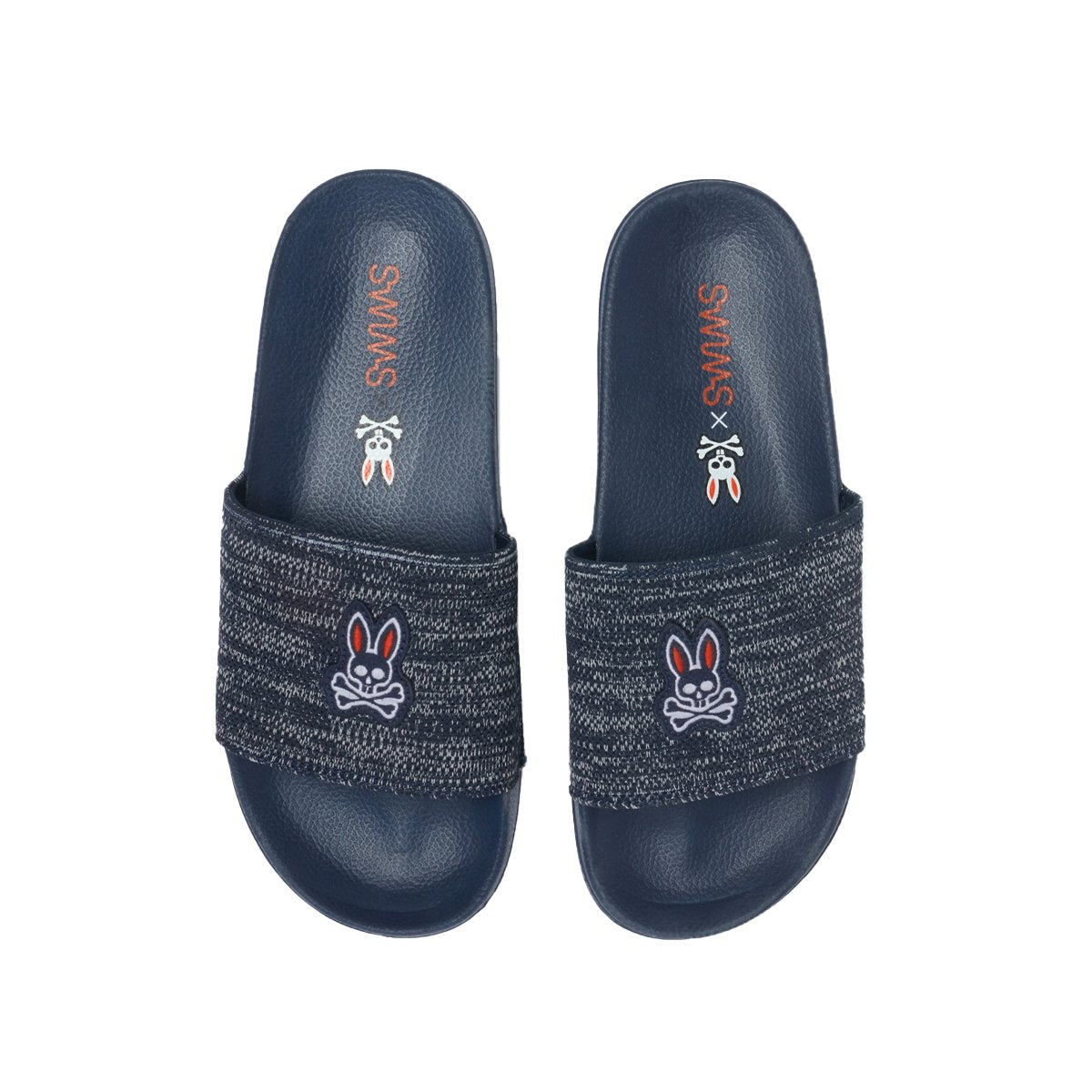 Psycho Bunny x SWIMS Pool Slide - background::white,variant::navy