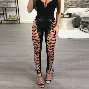 """Hey Heather"" Leather Lace-Up Pants"