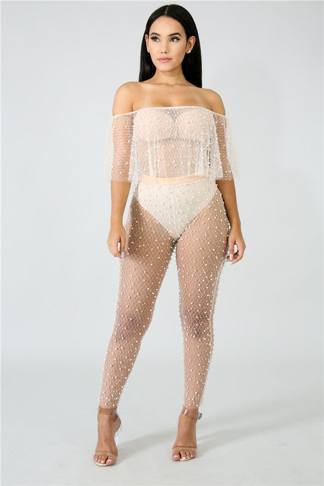 """Pearl Silhouette"" Sheer Pants"
