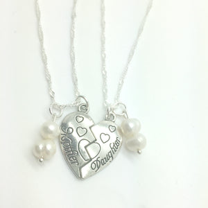 mother daughter matching heart necklaces
