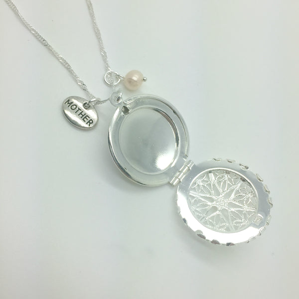 mother charm with freshwater pearl and locket on sterling silver chain