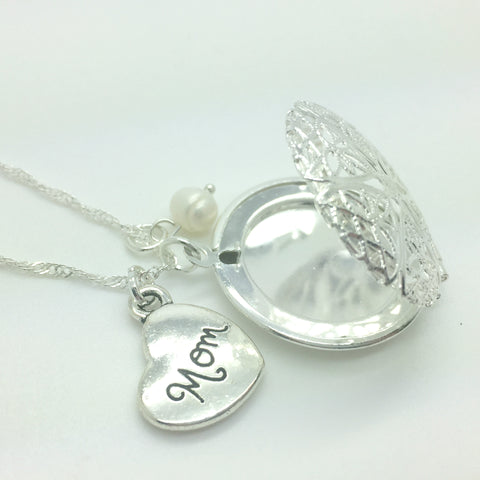 mom charm with freshwater pearl and locket on sterling silver chain