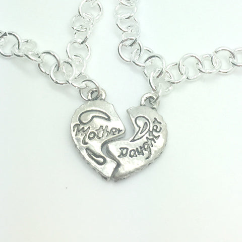 mother daughter matching heart charm bracelets