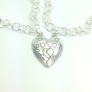 Mother Daughter Matching Heart Bracelet Set