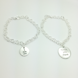I love you, I love you more matching charm bracelet set