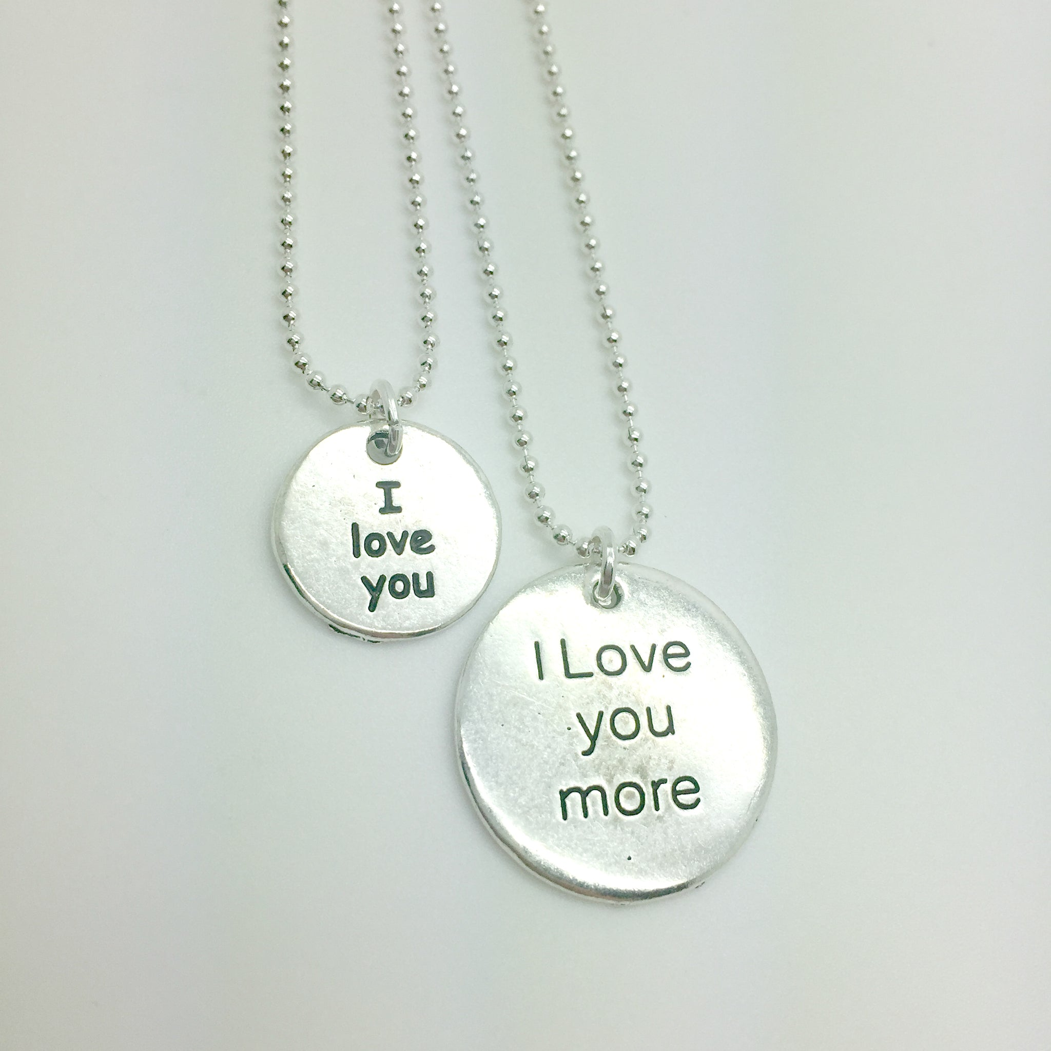 I love you, I love you more matching charm necklace set