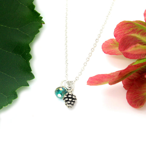 silver pine cone pinecone charm necklace