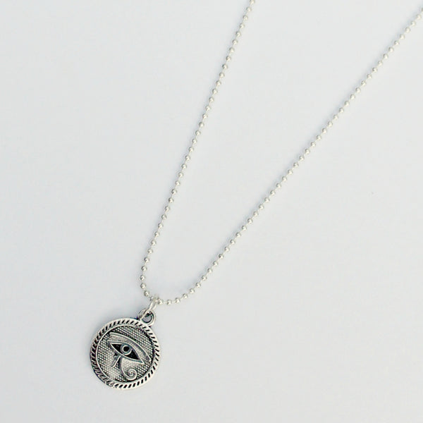 silver all seeing eye/eye of ra charm necklace