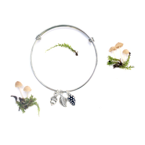 pinecone acorn leaf silver charm bangle bracelet pineal gland pine cone