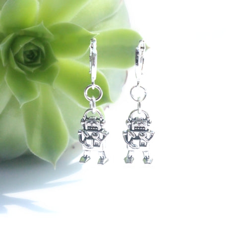 silver robot charm earrings