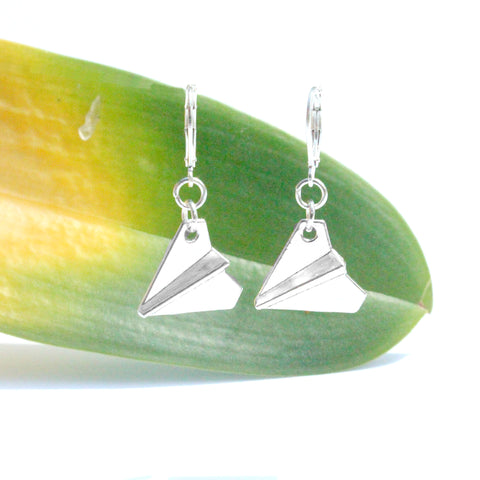 silver paper airplane charm earrings