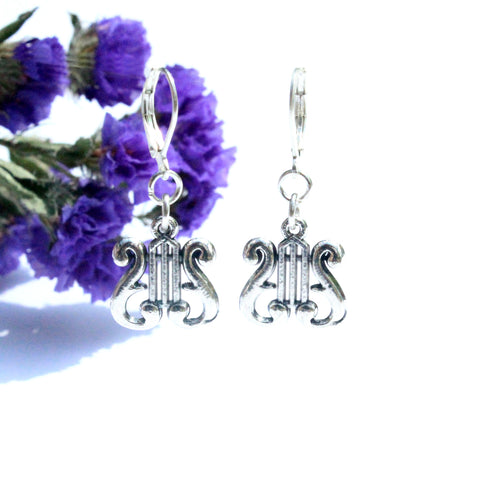 silver lyre harp charm earrings