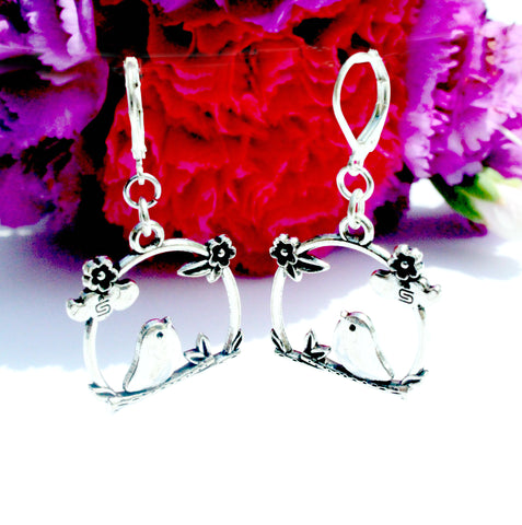 silver cherry blossom bird on a perch charm earrings