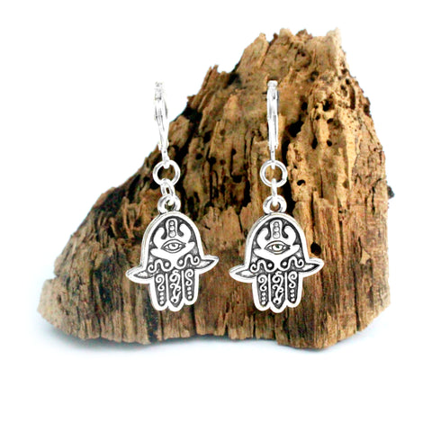 silver evil eye hamsa charm earrings