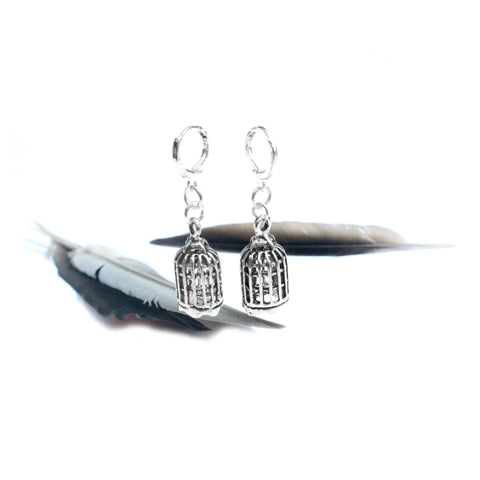 silver birdcage charm earrings