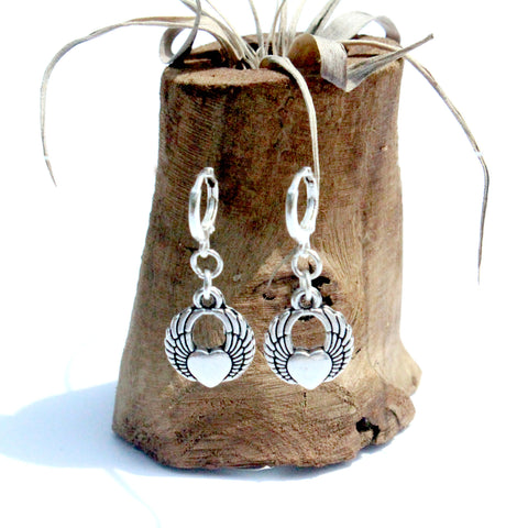 silver winged heart charm earrings