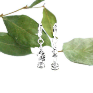 asymmetrical silver chess piece charm earrings knight queen