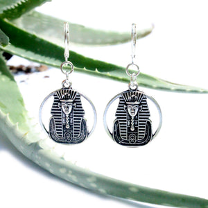silver pharaoh king tut charm earrings