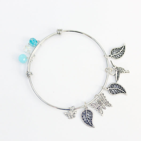 nature themed silver charm bracelet stainless steel bangle