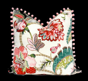 Jacobean Flower Pillow embellished with Pink Pom Pom Trim