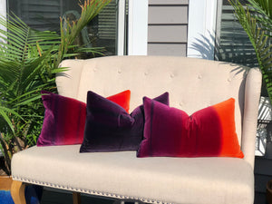 Ombre Vlevet Lumbar Pillow in Papaya, Rasberry, Purple. Modern Velvet pillow in Sunset.