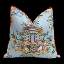 Load image into Gallery viewer, Thibaut Tea House Pillow, Red Pipping. Lumbar Chinoiserie Pillow Cover.