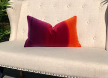 Load image into Gallery viewer, Ombre Vlevet Lumbar Pillow in Papaya, Rasberry, Purple. Modern Velvet pillow in Sunset.