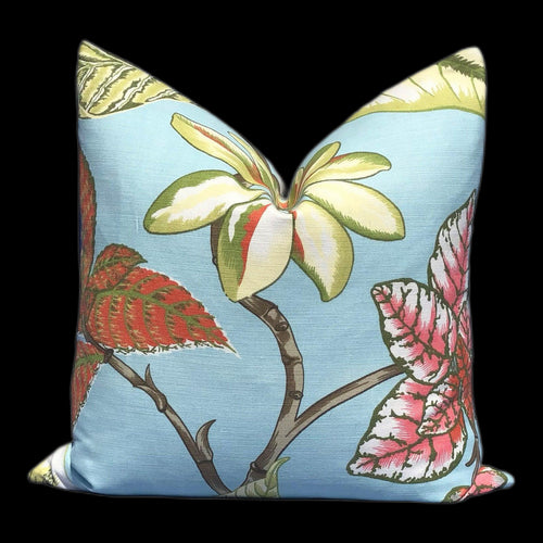 Thibaut Tropical Pillow in Aqua Blue, Pink, Green.